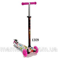 Детский Самокат Best Scooter 1309 Розовый Макси колеса  PU, светятся А 24660 /779-1309