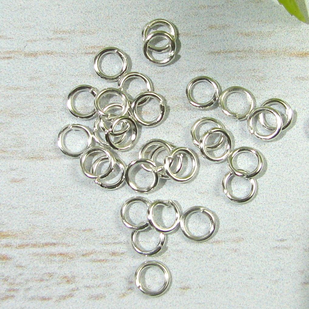 Кольцо соединительное. Цвет белое серебро 4,5мм, 25шт
