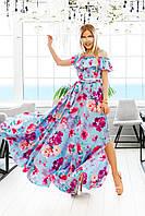 Женское летнее в пол платье сарафан с поясом и воланом 42-46 евро бенгалин голубое пудра в цветах