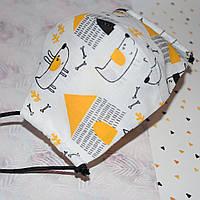 Детская маска защитная на девочку трехслойная многоразовая хлопковая. Мягкая резинка Отправка в день заказа