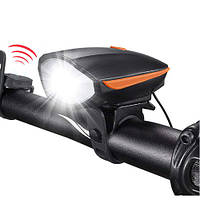 Аккумуляторный вело фонарь с сигналом, велофара, фара велосипедная с зарядкой HJ-7588