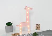 Ночник жираф розовый