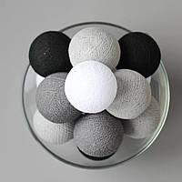 """Гирлянда """"Хлопковые шарики"""" (20 шариков 3,20см) черный белый серый"""