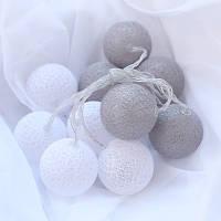 """Гирлянда """"Хлопковые шарики"""" (20 шариков 3,20см) белый серый"""