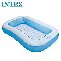 """Надувний басейн для дітей Intex 166х100х28 """"Ванна"""" з надувним дном для малюків Блакитний"""