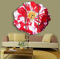 Бело красные Фигурные Часы картина модульная Пестрая роза 30х75 30х84 30х75 см