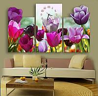 Красивые Фигурные Часы картина модульная Тюльпановый рай 30х52 30х56 30х54 см
