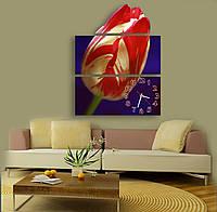 Оригинальные Фигурные Часы картина модульная Тюльпан полосатый 30х66 30х66 30х43 см