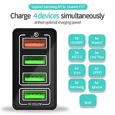 Универсальное зарядное устройство Elough BK-376 35 Вт. 4 USB порта. Быстрая зарядка Qualcomm Charge 3A Black, фото 3
