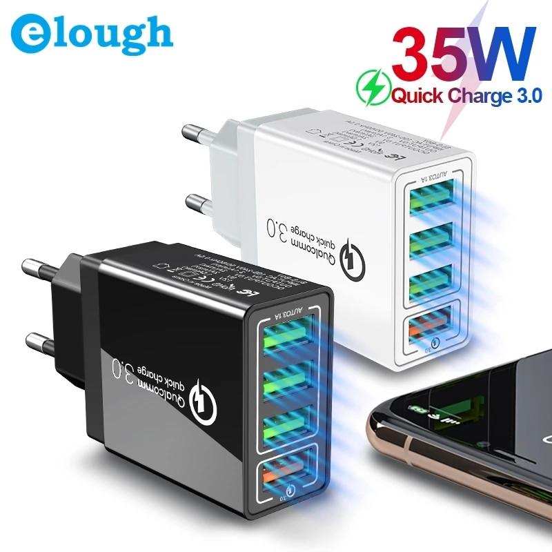 Универсальное зарядное устройство Elough BK-376 35 Вт. 4 USB порта. Быстрая зарядка Qualcomm Charge 3A Black