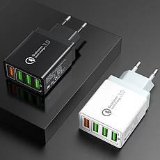 Универсальное зарядное устройство Elough BK-376 35 Вт. 4 USB порта. Быстрая зарядка Qualcomm Charge 3A White, фото 2