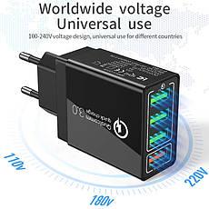 Универсальное зарядное устройство Elough BK-376 35 Вт. 4 USB порта. Быстрая зарядка Qualcomm Charge 3A White, фото 3