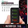 Универсальное зарядное устройство Elough BK-376 35 Вт. 4 USB порта. Быстрая зарядка Qualcomm Charge 3A White, фото 4