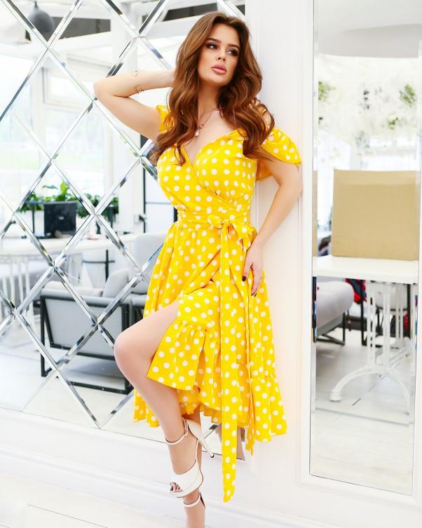 Желтое в горошек платье на бретельках S