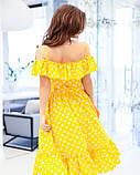 Желтое в горошек платье на бретельках S, фото 4