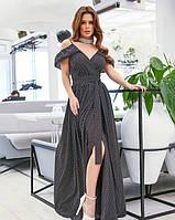 Черное нарядное в платье с открытыми плечами из тонкого софта в горошек S