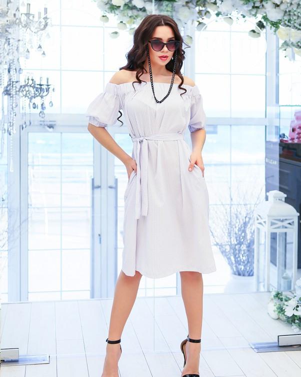 Белое в мелкий горошек платье с открытыми плечами (S M L XL) M
