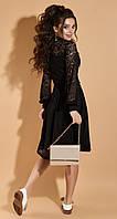 Нарядное черное коктейльное кружевное платье с длинным рукавом, L, черный