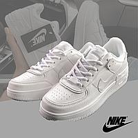 Кроссовки женские кожаные в стиле Nike Air Force 1 Low White (Найк Аир Форс) белые 36-40