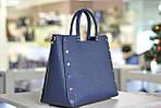 Модная женская кожаная синяя сумка