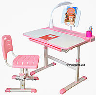 Парта трансформер и стул растущий (увеличенная, лампа и стул), 2 цвета, фото 1