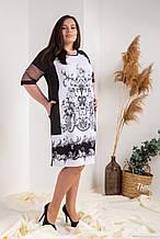 Платье мод №751-2, размер 50,52,54,56 серый орнамент