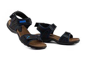 Подростковые сандали кожаные летние синие Monster Tracking П-син