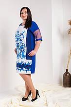 Платье мод №751-3, размер 50,52,54,56 электрик орнамент