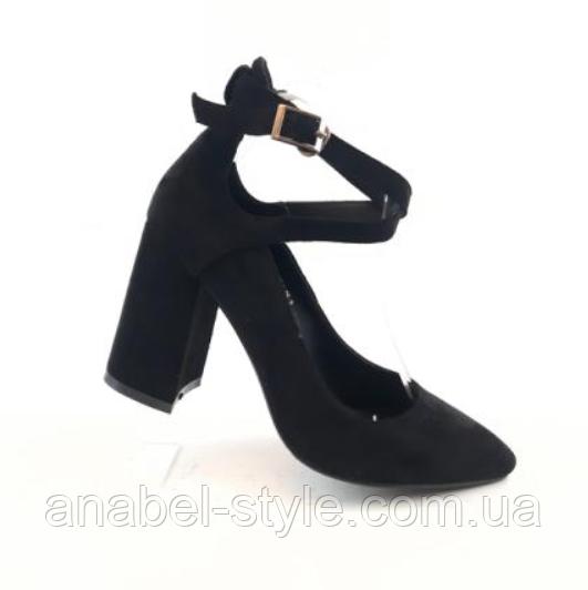 Туфли  с застёжкой на устойчивом каблуке замшевые черные с 33 размера Код 2339