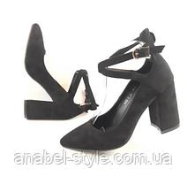 Туфли  с застёжкой на устойчивом каблуке замшевые черные с 33 размера Код 2339, фото 3