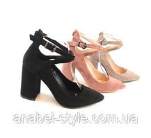 Туфли  с застёжкой на устойчивом каблуке замшевые черные с 33 размера Код 2339, фото 2
