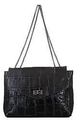 Шкіряна жіноча сумка EZMA diva's Bag колір чорний