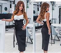 Черная женская юбка миди с высокой посадкой талии