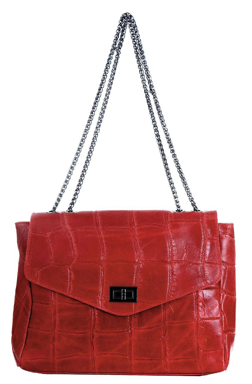 Кожаная женская сумка EZMA Diva's Bag цвет красный