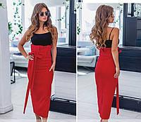 Красная женская юбка миди с высокой посадкой талии