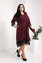 Платье-рубашка мод №745-2, размер 50,52,54 бордо