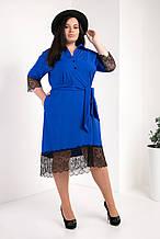 Платье-рубашка мод №745-3, размер 50,52,54 электрик