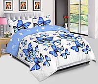 Постель полуторная Бабочки. Полуторное постельное белье. Ткань Бязь Голд, цвет голубой / белый