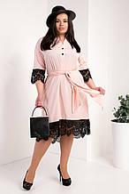 Платье-рубашка мод №745-5, размер 50,52,54 пудра
