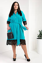 Платье-рубашка мод №745-6, размер 50,52,54 бирюза
