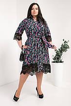 Платье-рубашка мод №745-8, размер 50,52,54 разноцветные листики