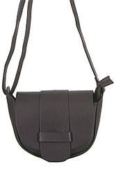 Шкіряна компактна жіноча сумка через плече COLINE темно-коричнева 19 см х 15 см х 7 см
