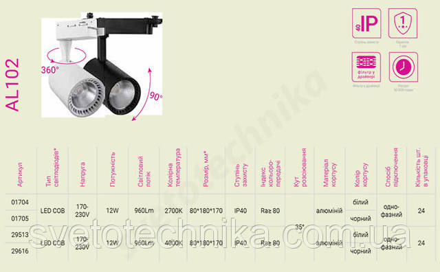 Feron AL102 12W білий 4000К світлодіодний світильник трековий