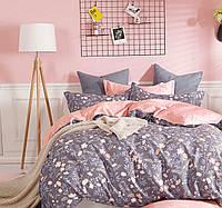 Постельное белье ЦВЕТЫ. Размер Евро. Цвет серый / розовый. Комплект постельного белья. Ткань Бязь