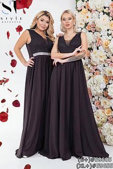 Вечернее платье, лиф расшит пайеткой, а линия талии акцентирована стразами с 48 по 54 размер