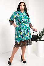 Платье-рубашка мод №745-10, размер 50,52,54 зеленый листья