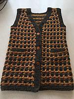 Безрукавка-кардиган жіноча з вовни в'їхав пов'язана ручної роботи розмір 48-50
