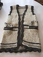Безрукавка жіноча з вовни в'язана ручної роботи 48-50, фото 1