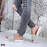 Шлепки со стразами, платформа 4 см, белые, фото 7