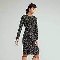 Нарядное женское платье-футляр с длинным рукавом, трикотажное, коктейльное, повседневное, офисное, деловое 38 (М)